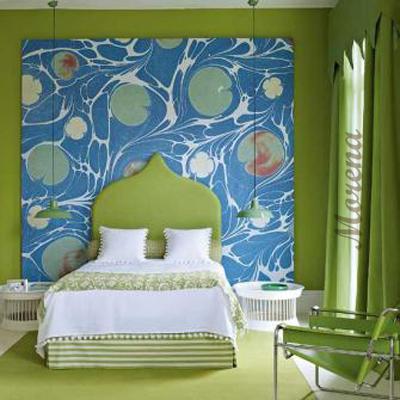 Абстрактные обои в интерьере спальни