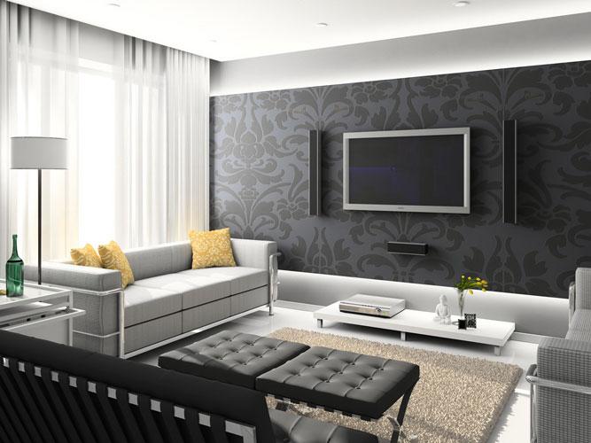 стиль фюжн и минимализм в дизайне гостиной