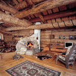 Интерьер дома из бревна оцилиндрованного