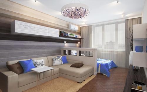 Зонирование гостиной и спальни в одном помещении